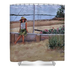 Shower Curtain featuring the painting Cape Cod Weekend Two by Laura Lee Zanghetti
