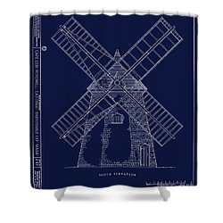 Shower Curtain featuring the photograph Historic Cape Cod Windmill Blueprint by John Stephens