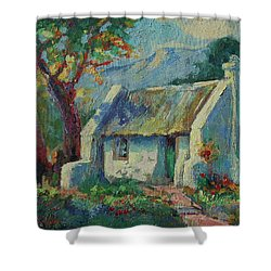 Cape Cottage With Mountains Art Bertram Poole Shower Curtain by Thomas Bertram POOLE