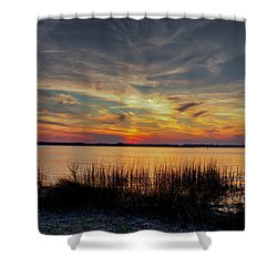 Shower Curtain featuring the photograph Cape Fear Sunset Return by Phil Mancuso