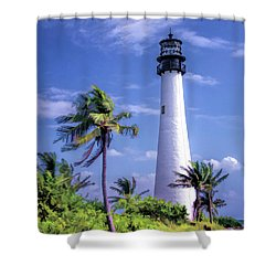 Shower Curtain featuring the painting Cape Florida Lighthouse by Christopher Arndt