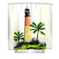 Cape Florida Lighthouse Shower Curtain by Michael Vigliotti