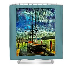 Shower Curtain featuring the photograph Cape Foulweather Tall Ship by Thom Zehrfeld