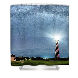 Cape Hatteras Light House Milky Way Panoramic Shower Curtain