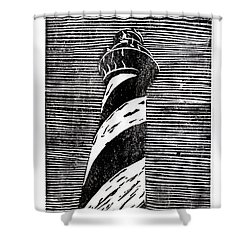 Shower Curtain featuring the painting Cape Hatteras Lighthouse II by Ryan Fox