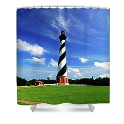 Shower Curtain featuring the photograph Cape Hatteras Lighthouse by Meta Gatschenberger