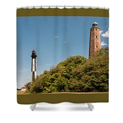 Cape Henry Lighthouses Old And New Shower Curtain