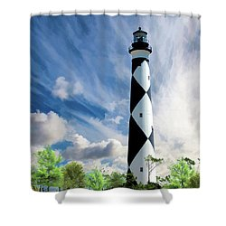 Shower Curtain featuring the painting Cape Lookout Lighthouse by Christopher Arndt
