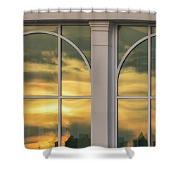 Cape May Abstract Sunset Reflection Shower Curtain by Gary Slawsky