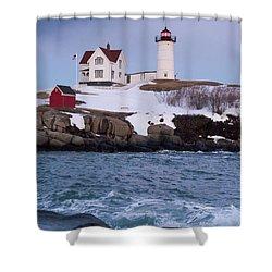 Cape Neddick Light At Dusk, York, Maine 21073 Shower Curtain