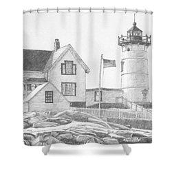 Cape Neddick Light House Drawing Shower Curtain