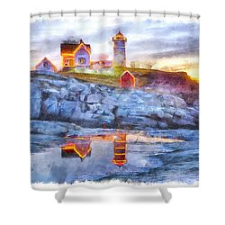 Cape Neddick Light Watercolor Shower Curtain