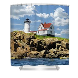 Shower Curtain featuring the painting Cape Neddick Lighthouse by Christopher Arndt
