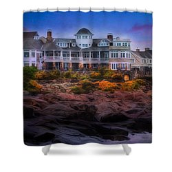Shower Curtain featuring the photograph Cape Neddick Maine Scenic Vista by Shelley Neff