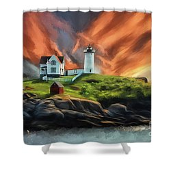 Shower Curtain featuring the digital art Cape Neddick Nubble Lighthouse by Lois Bryan