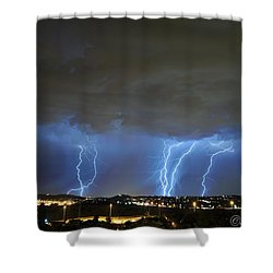 Capital City Lightning Shower Curtain by Tsephe Letseka