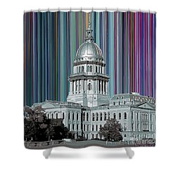 Shower Curtain featuring the mixed media Capitol Building Springfield Il by Carla Bank