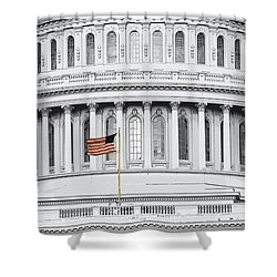 Shower Curtain featuring the photograph Capitol Flag by John Schneider