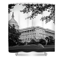 Capitol Lawn In Black And White Shower Curtain