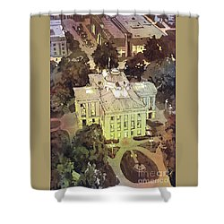 Shower Curtain featuring the painting Capitol Of Stupid- Raleigh, Nc by Ryan Fox