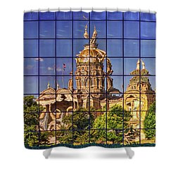 Shower Curtain featuring the photograph Capitol Reflection - Iowa by Nikolyn McDonald