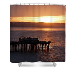 Shower Curtain featuring the photograph Capitola Day Begins by Lora Lee Chapman