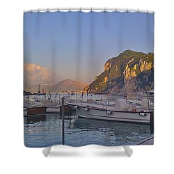 Capri- Harbor Boats Shower Curtain