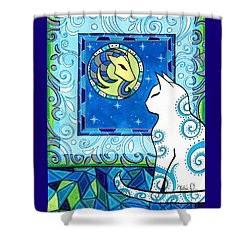 Capricorn Cat Zodiac Shower Curtain