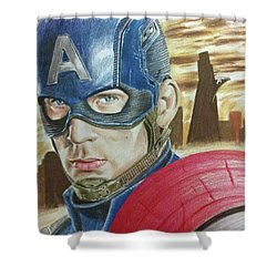 Captain America Shower Curtain by Michael McKenzie