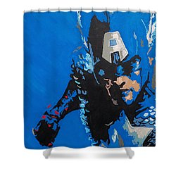 Captain America - Out Of The Blue  Shower Curtain by Kelly Hartman