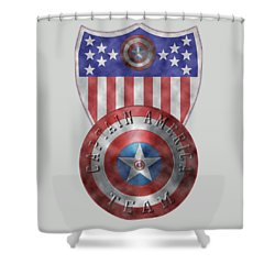 Shower Curtain featuring the painting Captain America Shields On Gold  by Georgeta Blanaru