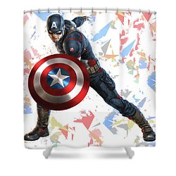 Shower Curtain featuring the mixed media Captain America Splash Super Hero Series by Movie Poster Prints