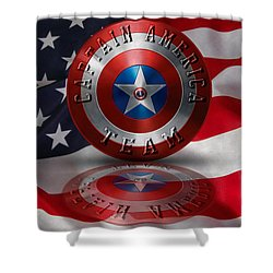 Shower Curtain featuring the painting Captain America Team Typography On Captain America Shield  by Georgeta Blanaru