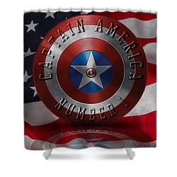 Shower Curtain featuring the painting Captain America Typography On Captain America Shield  by Georgeta Blanaru