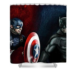 Captain America Vs Batman Shower Curtain by Vinny John Usuriello
