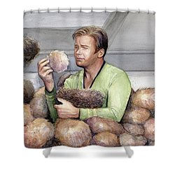Captain Kirk And Tribbles Shower Curtain by Olga Shvartsur