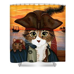 Captain Leo - Pirate Cat And Rat Shower Curtain