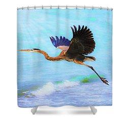 Captiva Crane In Flight Shower Curtain