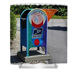Shower Curtain featuring the photograph Captiva Island Mailbox- Horizontal by Michiale Schneider