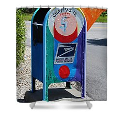 Shower Curtain featuring the photograph Captiva Island Mailbox- Vertical by Michiale Schneider