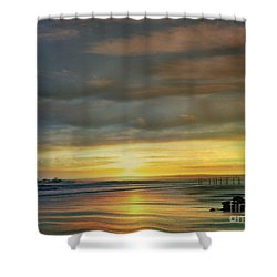 Captivating Sunset Over The Harbor Shower Curtain