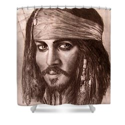 Shower Curtain featuring the drawing Capt.jack by Jack Skinner