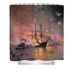 Capture Of New Orleans By Union Flag Officer David G Farragut Shower Curtain by Julian Oliver Davidson