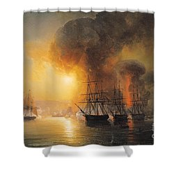 Capture Of The Fort Of Saint Jean Dulloa On 23rd November 1838 Shower Curtain by Jean Antoine Theodore Gudin
