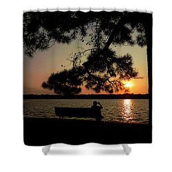 Shower Curtain featuring the photograph Capturing The Sunset by Teresa Schomig