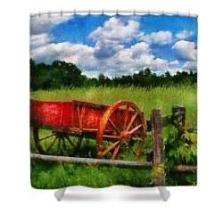 Car - Wagon - The Old Wagon Cart Shower Curtain by Mike Savad