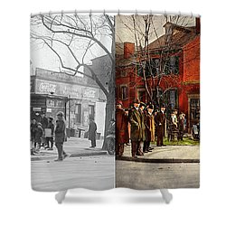 Shower Curtain featuring the photograph Car - Accident - Looking Out For Number One 1921 - Side By Side by Mike Savad