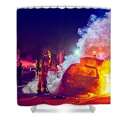 Shower Curtain featuring the photograph Car Arson  by TC Morgan