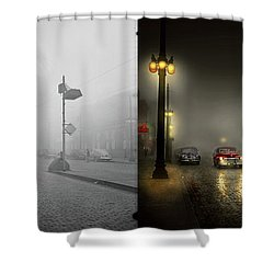 Shower Curtain featuring the photograph Car - Down A Lonely Road 1940 - Side By Side by Mike Savad