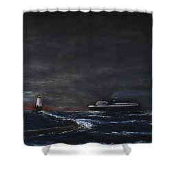 Car Ferry Badger November Crossing Shower Curtain